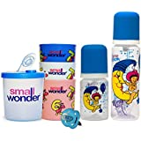 Small Wonder Pure Blue Set Of 5 Combo (Pure 250 Ml, 125 Ml, Glass Set, Soother, Dispenser)