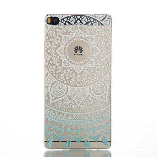 Funda per Huawei P8 Lite Custodia TKSHOP Case Cover Crystal Morbido TPU Silicone Gel Conchiglia Protezione smartphone Shock-Absorption - Stampa Modello Blu Mandala cappio