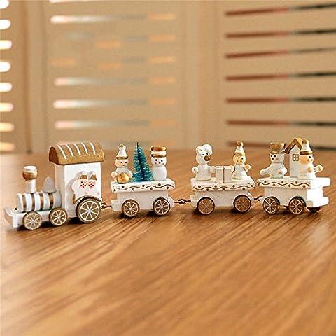 ILOVEDIY 4 Pièces Train Bois Enfant Cadeau Noel Table Décoration Intérieure (blanc)
