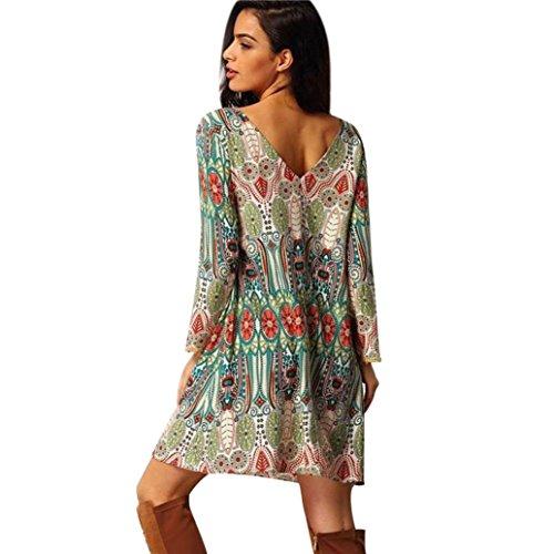Oyedens® Kleid Damen Sommer, Frauen Retro Nationale Wind Lose Rundhals Kleid Kleidung Knie Kleid Lose Partei Kleid (S, Grün)