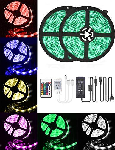 LED-Streifen-Licht 10M, 16 RGB-Farben LED Beleuchtung mit Fernbedienung Dimmen selbstklebend, IP65 Wasserfestes LED Lichterkette Inkl. 12V Driver für Zuhause, Schlafzimmer, TV, Decke, Schrankdeko