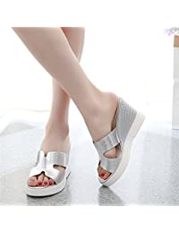 GTVERNH Celebrita 'Le Dita Dei Piedi Sexy Zona Pellucida Tallone 8Cm Scarpe Con Tacchi Alti Pantofole Semi - Le Pantofole. 37 Argenteo