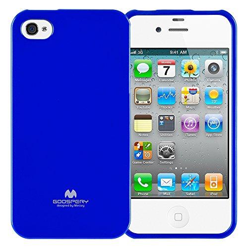 Goospery Marlang Marlang iPhone 4/4S Hülle, Gratis Displayschutzfolie [Slim Fit] TPU Fall [Flexibel] Pearl Jelly [Schutz] Bumper Cover für Apple iPhone 4S, Marineblau 4s Pearl Case Iphone