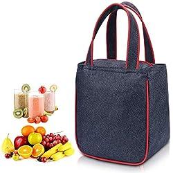 WAWJ Bolsa Almuerzo para Mujer Hombre Niños Niñas, Bolsa Almuerzo Impermeable Oxford (Rojo)