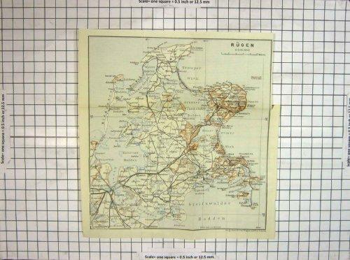 Mappa Antica Germania Rugen Bergen Stralsund Arkona