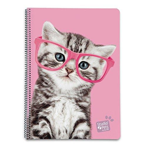 Grupo Erik Editores Studio Pets - Cuaderno con tapa dura con diseño gato, 21 x 29.7 cm, A4