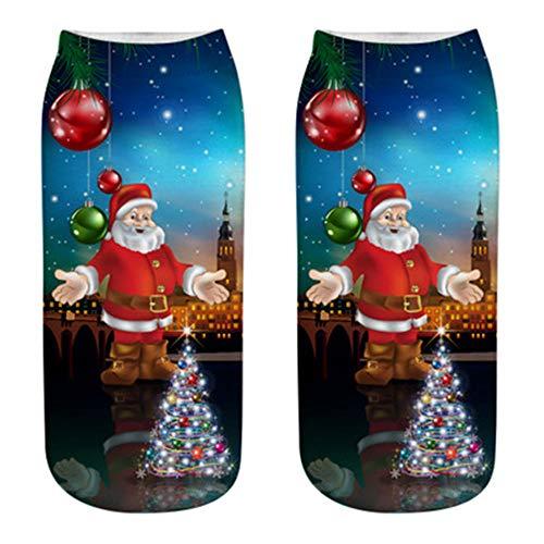 Gemütlich Weihnachten Baumwolle Socke, Quaan Kausal nähen Winter Warm Hausschuhe Kurz Drucken Knöchel Socken weich gemütlich Licht elastisch Deodorant Job Geschäft Anti Unterhose ()