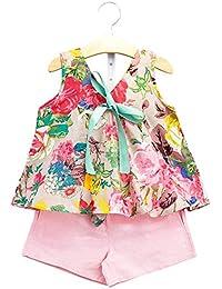 Fashion Brand AiJia Girls Cotton Short Set in Colour Pink