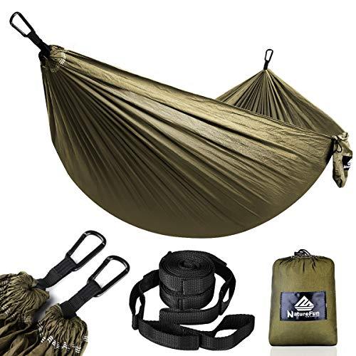 NATUREFUN Ultraleichte Reise Camping Hängematte | 300kg Tragkraft, (275 x 140 cm) Fallschirm Nylon | 2 x Premium Karabiner, 2 x Nylon-Schlingen Inbegriffen