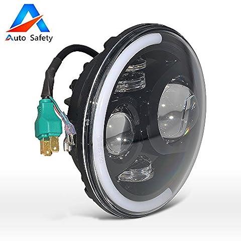 Auto Safety 7 pouces 60W CREE Assemblée Phare LED avec Halo Angel Eye & DRL & Clignotants pour Jeep Wrangler Harley-Davidson 1PC