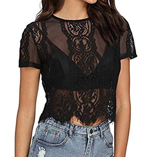 pitashe Damen T-Shirt Kurzarmshirt Basic Tops Ärmelloses Tee Allover-Sternen Druck Shirt Sommer Shirt