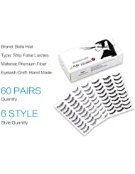 Bella Hair 60 Pairs Natural Handmade Reusable False Eyelash Extensions - 6 Styles 10 Pairs For Each Style
