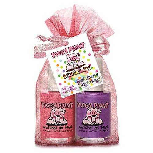 Piggy Farbe ungiftig Mädchen Nagellack - Sicher, ohne Chemikalien - Rainbow Sprinkles 2 Pack