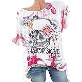 JUTOO Frauen Schädel Gedruckt Kurzarm Bluse Shirt Tops T-Shirt
