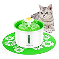 isYoung Fontanella Floreale per Gatti Distributore Automatico d'Acqua da 1.6L per Animali Domestici 3 modalità di Flusso dell'Acqua con Sistema di Filtraggio con 2 Filtri a Carbone