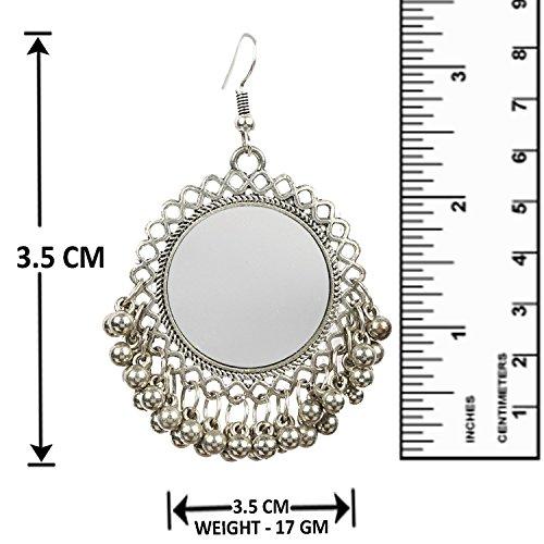 b6b9fea19 Aabhu Afghani Designer Vintage Oxidised German Silver Tribal Hoop Dangler  Hanging Mirror Chandbali Earring Antique Jewellery
