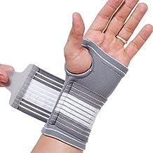 Banda de sujeción para la palma de la mano y el pulgar - Elástica y transpirable - Tira de compresión ajustable - Marca NEOtech Care ( TM ) - Paquete de 1 unidad - Gris - Talla M