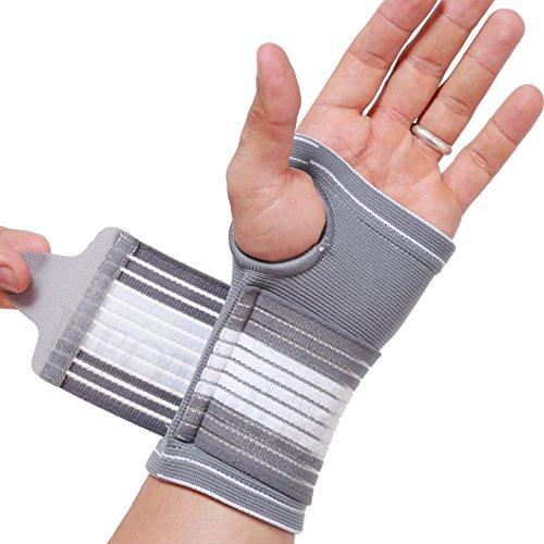 Neotech Care - Handflächenstütze mit Daumenteil (1 Einheit) - verstellbarer Kompressionsriemen - elastischer & atmungsaktiver Stoff - für Sehnenentzündung, Sport, Bowling, Boxen - Grau - S
