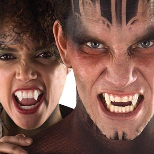 2 Deluxe Vampir-Zähne Classic mit Kleber - wiederverwendbar - Perfekter Halt - Fangzähne Eckzähne Dracula Blutsauger Nosferatu Wolf Dämon FX