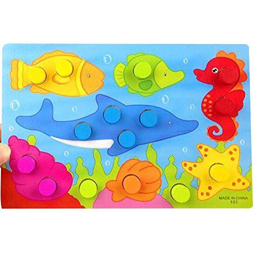 T-MEKA Steckspiel Kunterbunte Welt | Sortierspiel mit 6 bunten Motiven zum Zuordnen und Farben Lernen | Spielzeug ab 12 Monaten-Unterwasserwelt(22.5*15cm)