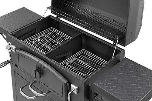 Holzkohlegrill Grand Ontario von EL Fuego® Grill Smoker BBQ Grillwagen Barbecue, mit Thermometer, inkl. Flaschenöffner, mit Warmhalterost und Ascheauffang, AY 572 - 3