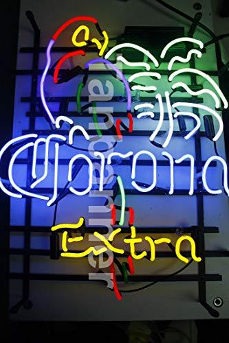 FS Neon Sign Corona Extra Parrot Bird droite palmier fabriqué à la main en verre véritable Tube...
