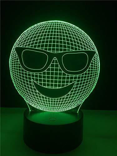 Llwmn Nachttischlampen Deko Lichtkabel 3D Led Usb Sonnenbrille Schlafzimmer Nachtlicht Multicolor Tischlampe Friends Gifts
