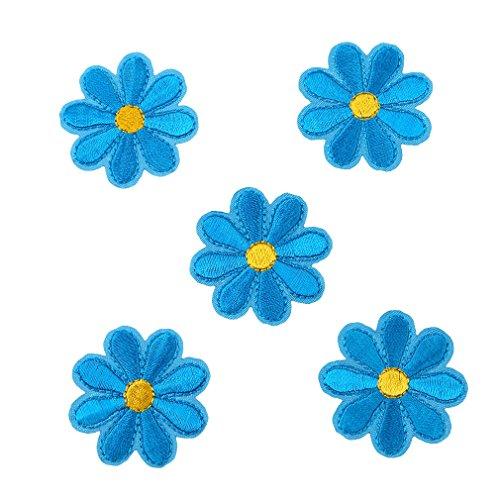 CanVivi Aufbügelbilder Blumen Set Patches Aufnäher Applikationen,Blau