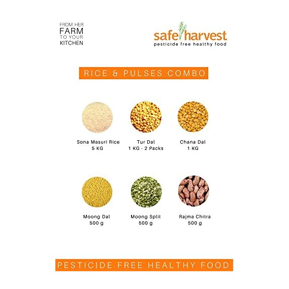 Safe Harvest Basket Rice and Pulses Combo, 10 kg (Combo of 7)