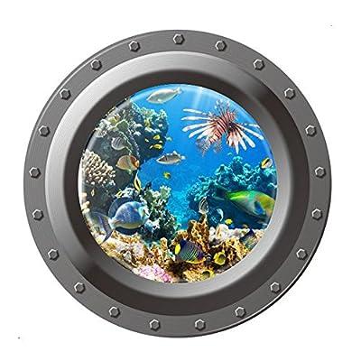 YouN Shark Ocean View Wall Sticker 3D Porthole Window Kids Room Home Decor Art