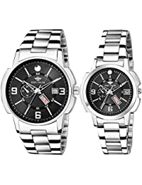 Eddy Hager Day & Date Couple Watch Combo EH-501 (Black)