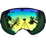 ZIONOR 10 Colors Snowmobile Snowboard Skate Ski Goggles with Detachable Lens and Wide Angle Double Lens Anti-fog Big Spherical Professional Unisex Multicolor Lagopus3100