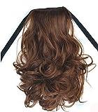 ALISIAM Womens Ribbon Wavy Wavy Curly Short Ponytail Horsetail Hair Extensions