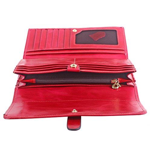 Yvonnelee Delle donne del cuoio genuino portafogli borsa esclusiva Long Bifold cassa Rosa