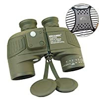 USCAMEL®10X50 HD Military Binoculars with Ranging, Compass Multifunction, Suitable for Adults Bird watching, Hunting, Sailing, with Shoulder Strap (Army Green)