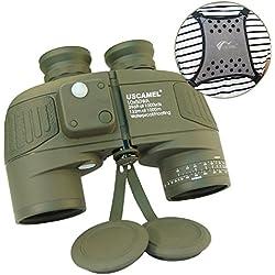 USCAMEL® Jumelles Adultes Militaires HD 10X50 Multi-Fonctions avec Télémétrie et Boussole, Adaptées pour l'observation des Oiseaux, La Chasse Et Le Nautisme, Livrées avec Une Sangle Kaki.