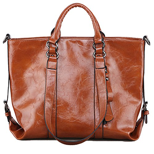 YYW Large Tote Bags, Borsa tote donna Brown