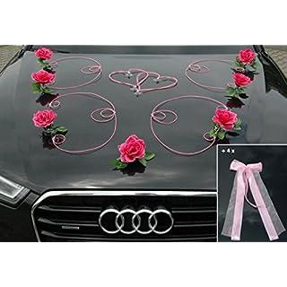 Autoschmuck DEKOR Auto Schmuck Braut Paar Rose Deko Dekoration Hochzeit Car Auto Wedding Deko PKW (Pink/Rosa)