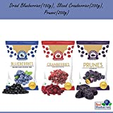 WONDERLAND FOODS Low-Sugar Dried Fruits Berries Combo Pack (Blueberry 150 g, Sliced Cranberry 200 g, Prunes 200 g)