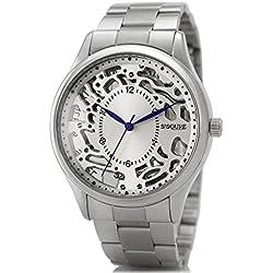Alienwork Ssqure Quartz Watch Skeleton Wristwatch stylish Metal silver silver 48261G-03