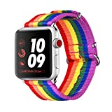 Bandmax LGBT Armband für Apple Watch 38MM, LGBT Regenbogen Nylon Gewebe Gurt Ersatzarmband Wrist...