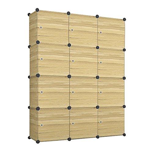 HENGMEI Kleiderschrank Garderobenschrank Steckregalsystem Regalsystem 12 Boxen mit Tür Farbauswahl (Holz A) (Box Tür)