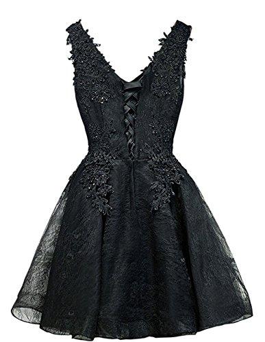 Carnivalprom Damen Abendkleider Kurz Elegant Appliques Festkleid V-Ausschnitt Partykleider Lavendel