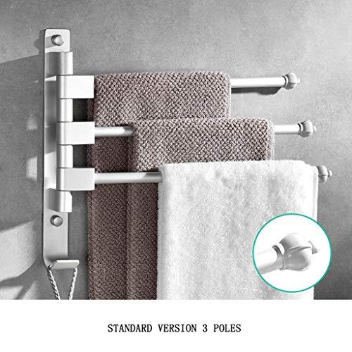 OUOXI Bad Selbstklebende Handtuchhalter Aviation Grade Aluminium Multifunktions-drehende Handtuchstange Verdickung Nagel Loch (Farbe : Standard Version 3 Poles) -