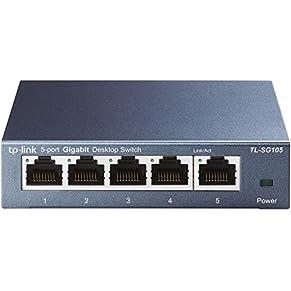 TP-Link TL 5-Ports/8-Ports/16-Ports Gigabit Netzwerk Switch ( geschirmte RJ-45 Ports, Metallgehäuse, IGMP-Snooping, unmanaged, lüfterlos) blau metallic