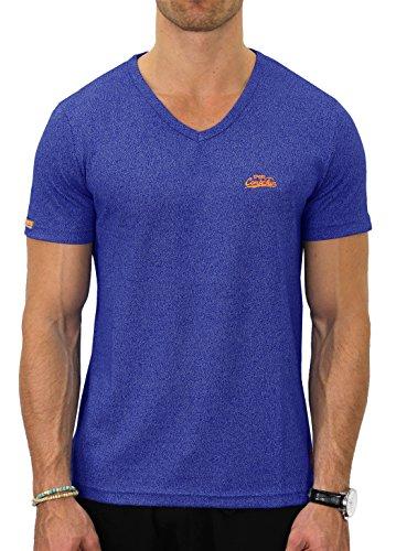 M.Conte Fitness T-Shirt Herren v Neck Kragen Sportstyle Kurzarm Tee Stickerei Logo Schwarz Blau Grau Silber Marine M L XL XXL Carl (L, Cobald Blau) - V-neck Graphic T-shirt