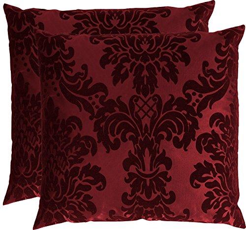 OPUS Kissenhülle 60 x 60 cm Taft Samt Flockdruck in 9 extravaganten Farben 55 Wein Rot (2er Set)