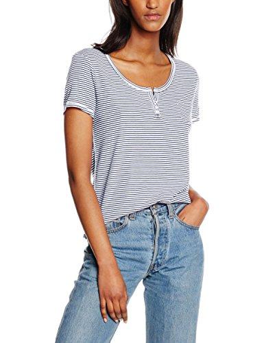 Hilfiger Denim Damen T-Shirt Stp Knit Henley Ss 02, Mehrfarbig (Classic White 100), 38 (Herstellergröße: M)