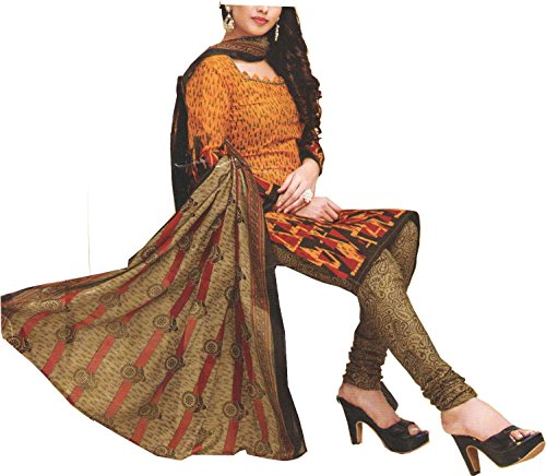 Nashira Women'S Cotton Unstitched Dark Yellow, Brown and Orange Combination Casual Daily...