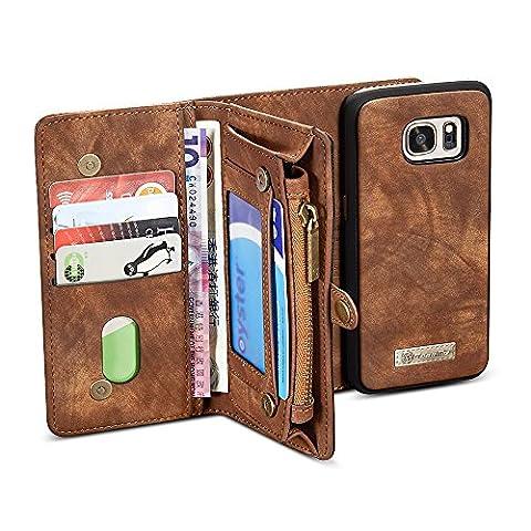 Galaxy S7 Edge étuis, BELK détachables (2 en 1) Housse Wallet Zipper avec plusieurs 10 Card Slots & magnétique amovible Slim Retour PC Shell pour Samsung Galaxy S7 Edge - écran incurvé, Retro Brown